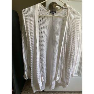 Express size S white 3/4 sleeve cardigan